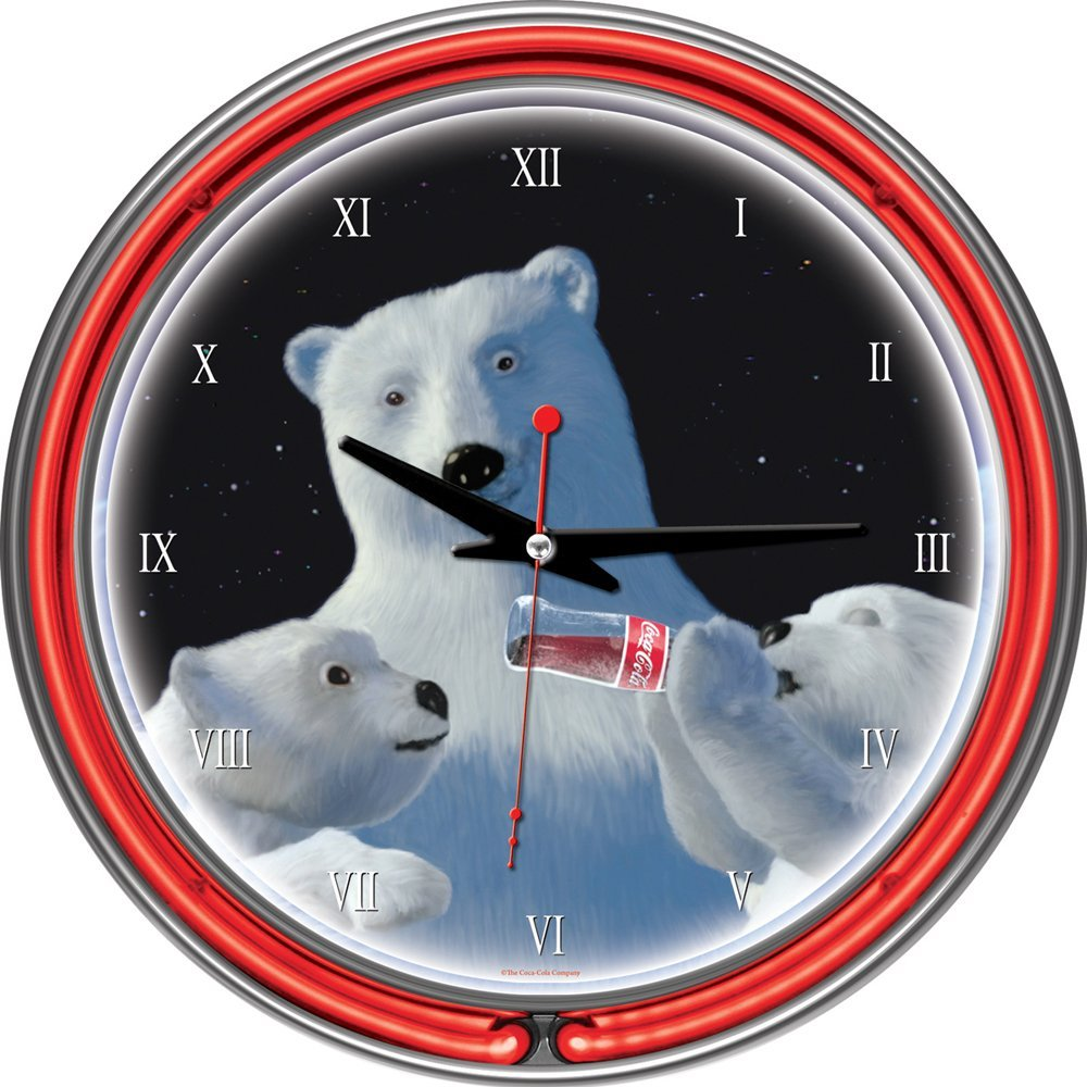 71pzDIZpppL. SL1000  Amazon: Coca Cola Polar Bear with Cubs Chrome Double Ring Neon Clock, 14 Only $36.58 Shipped (Reg. $159.99)