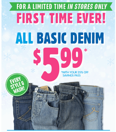 JEANS *HOT* The Childrens Place: ALL Denim $5.99 AND Sleepwear and Graphic Tees ONLY $3.74!