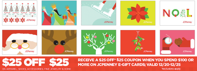 jc JCPenney: Buy $100 in eGift Cards = $25 Off $25 Purchase Coupon = FREEBIES!