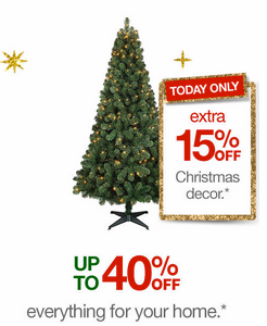 screen shot 2014 12 03 at 10 12 33 am Target.com: Extra 15% off Christmas Decor (Today Only) + FREE $10 with $50 Holiday Shop Purchase