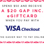 FREE $20 Gap Card with $50 Purchase & Visa Checkout at Gap, Old Navy, Banana Republic & Piperlime