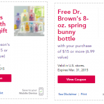 Babies R Us: FREE Dr. Brown's Bottle AND Johnson's Travel Bath & Body Pack With Any $15 Purchase!