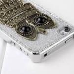 Deluxe Sliver Chrome Glitter Bling Crystal Rhinestone Owl Hard Case Skin Cover for Apple iPhone 4 4S 4G  Only $5.10 Shipped