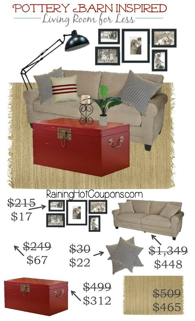 Pottery Barn Inspired Living Room Look for MUCH LESS!