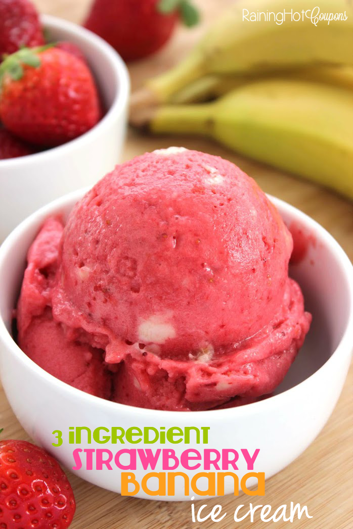 Ingredient Strawberry Banana Ice Cream (Non-Dairy!) - Raining Hot ...