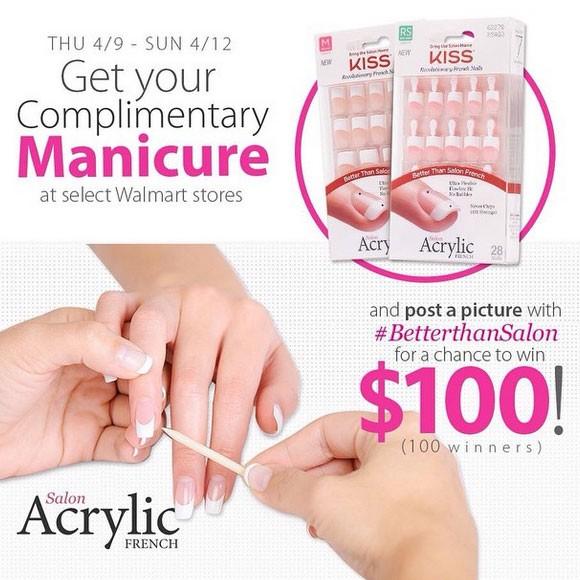 Free kiss salon acrylic french manicure nails no purchase for Acrylic nails walmart salon