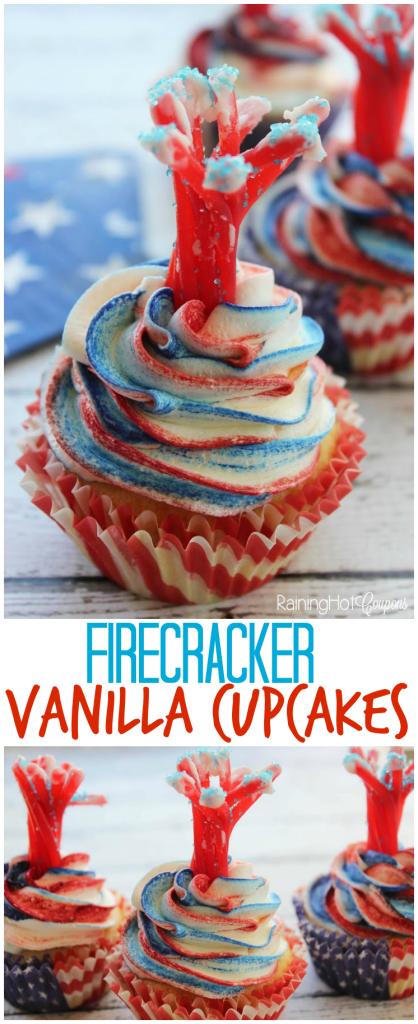 Firecracker Vanilla Cupcakes