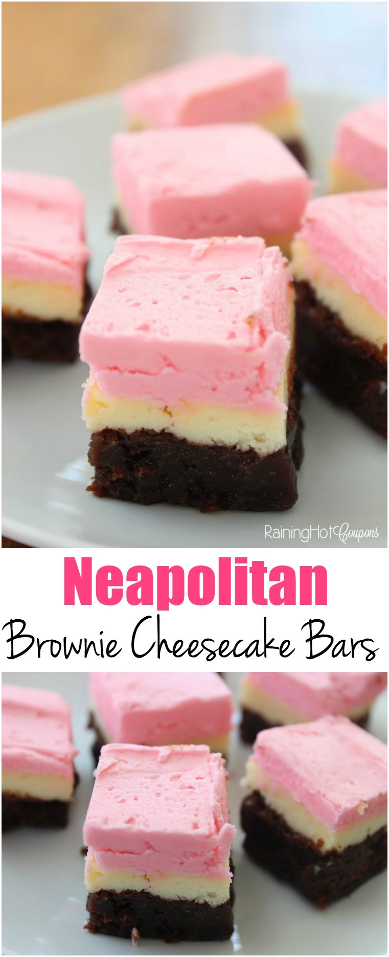 Neapolitan Brownie Cheesecake Bars