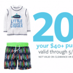 Carter's 20% off a $40 Purchase (Thru 5/13) + 50% off Kids Swimsuits (Today Only)