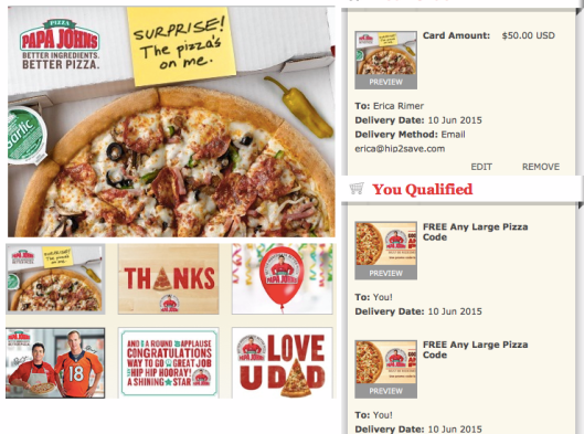 Papa John's: FREE Large Pizza with $25 Gift Card Purchase