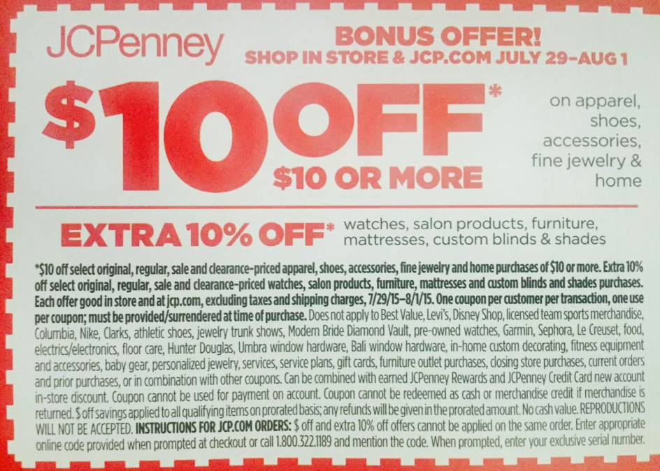 jcpenney 10 10 purchase coupon freebies
