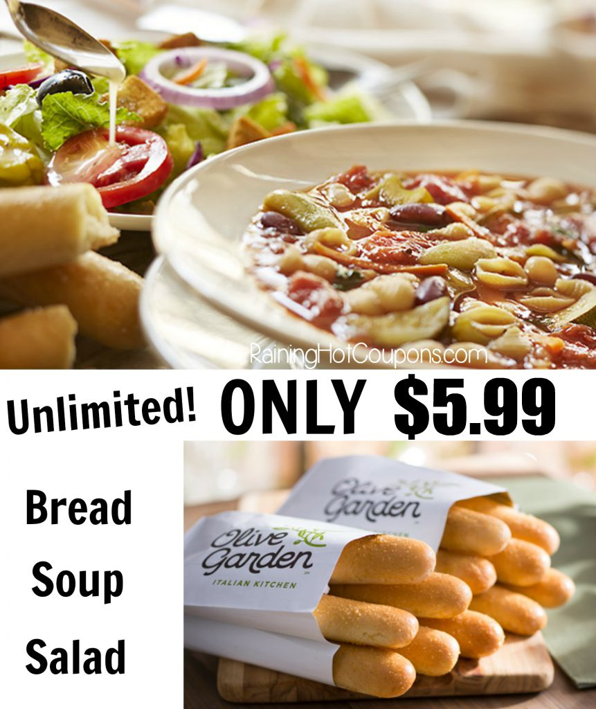 i just got an email that through 1023 olive garden is offering unlimited soup salad - Olive Garden Unlimited Soup And Salad