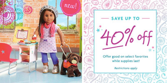 picture relating to American Girl Printable Coupons titled American Woman Keep: 40% Off Sale \u003d Publications Basically $1.25, Doll