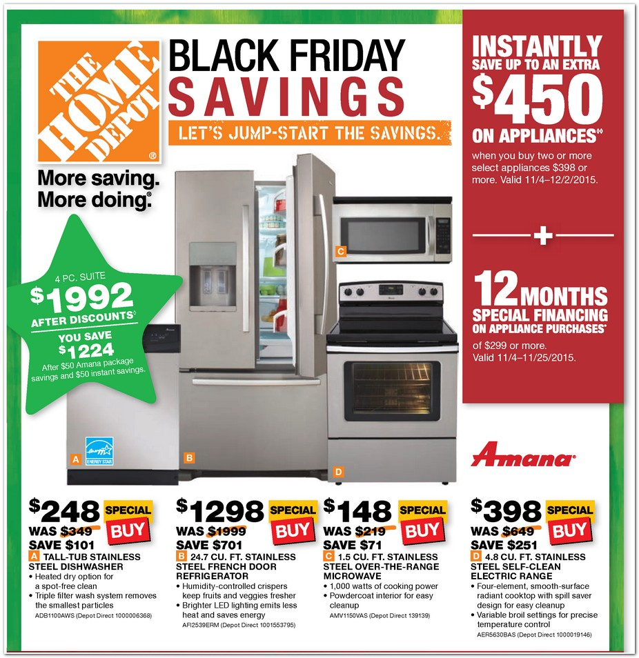 There is a Black Friday Appliance event going on right now at The Home Depot!  You can see the WHOLE AD HERE and all the sale prices.