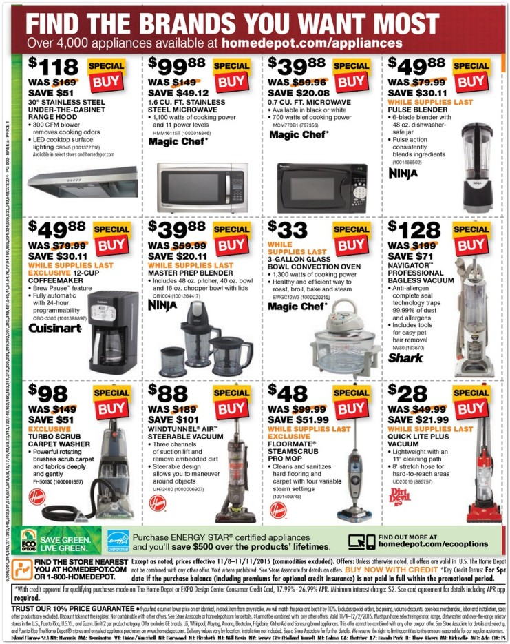 Home Depot Black Friday Appliance Ad 2015