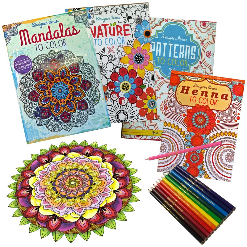 Today Only You Can Get These Fun And Stress Relieving Set Of 4 Adult Coloring Books 12 Color Pencils For 9 Shipped Plus No Promo Code Is Needed