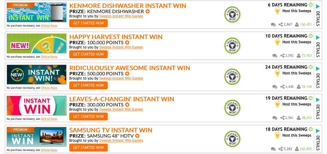 Lots of Instant Win Games (TV's, Cash, Dishwasher and more!)