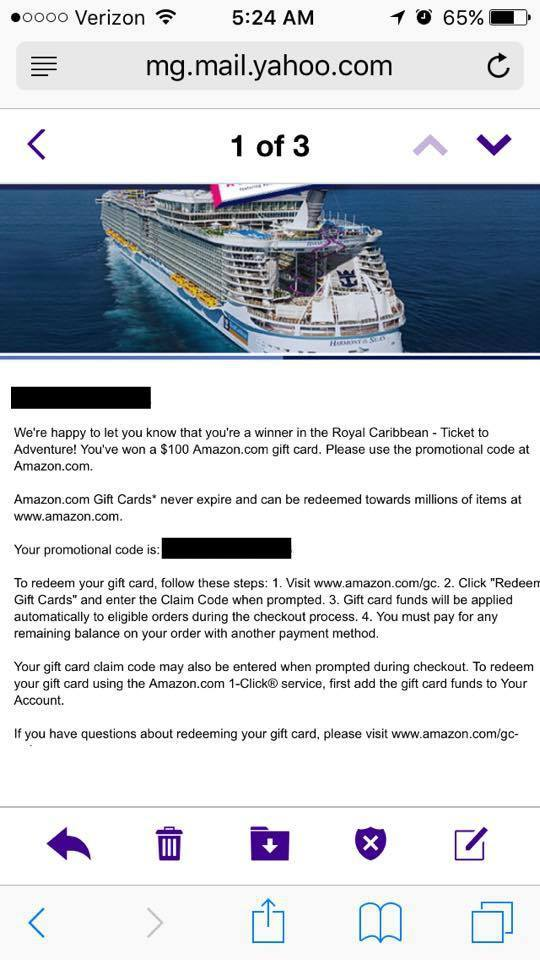 Instantly Win Amazon Gift Cards Or A Cruise Vacation