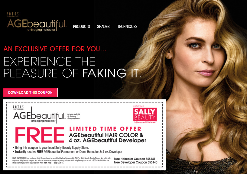 Sally Beauty Stores: FREE AGEbeautiful Permanent or Demi Haircolor ...