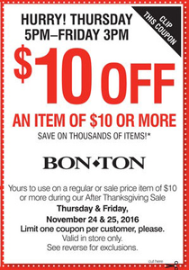photograph about Bon Ton Printable Coupon known as Cost-free $10 off $10 Coupon at Bon-Large amount