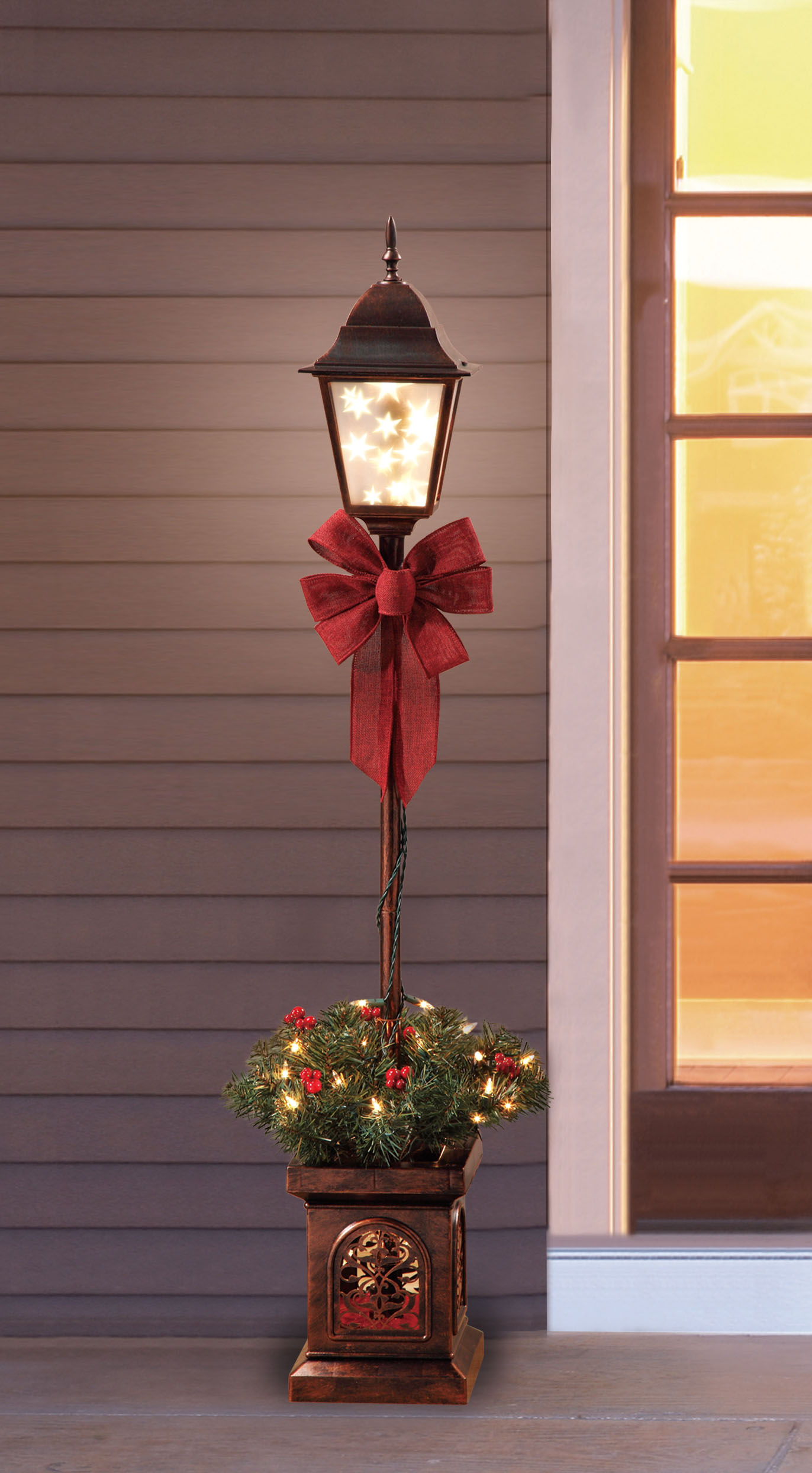 Holiday time pre lit ′ christmas lamp post tree only