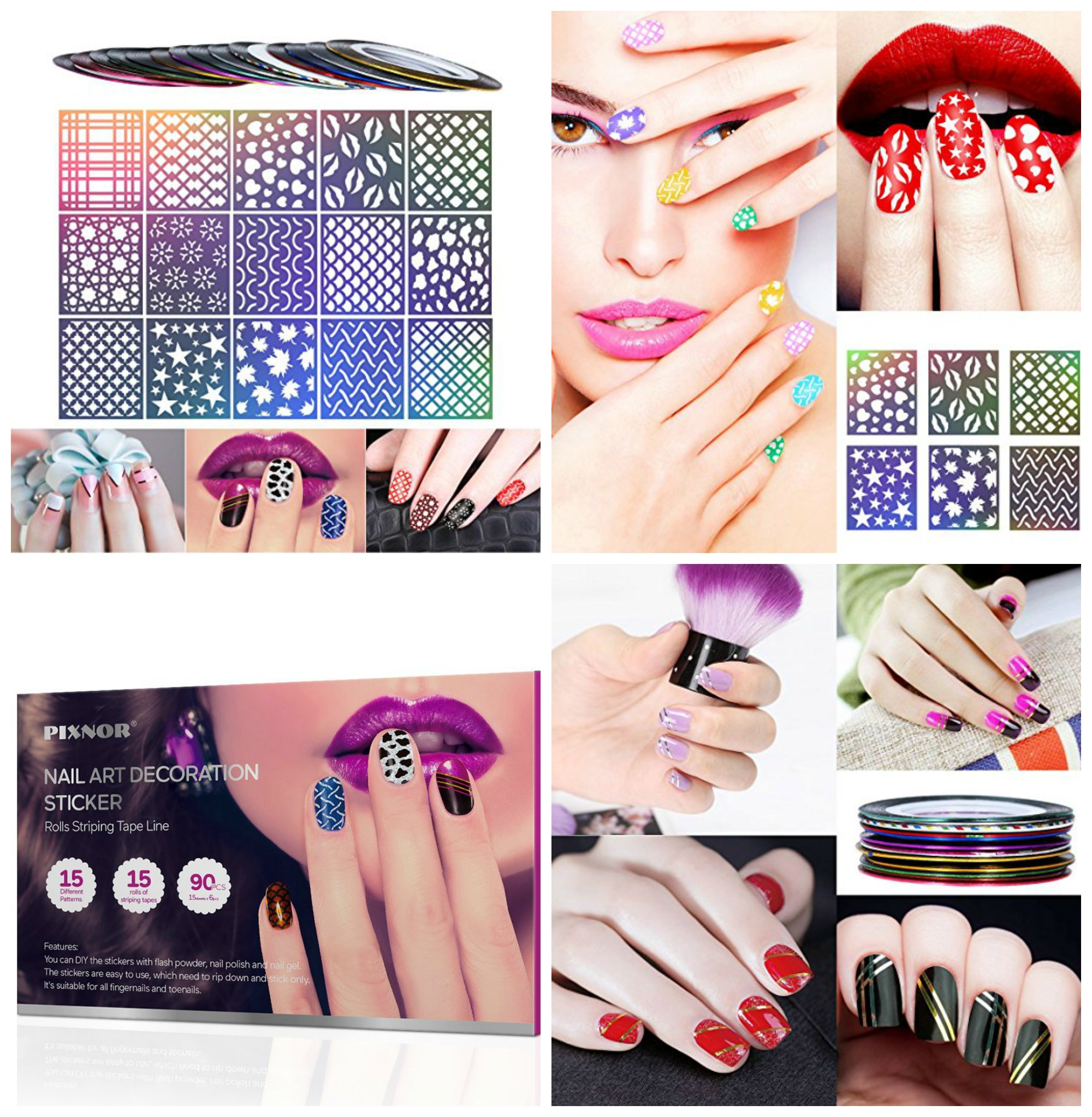 90 Piece Nail Art Decoration Stencil and Stripe Tape Set Only $9.99